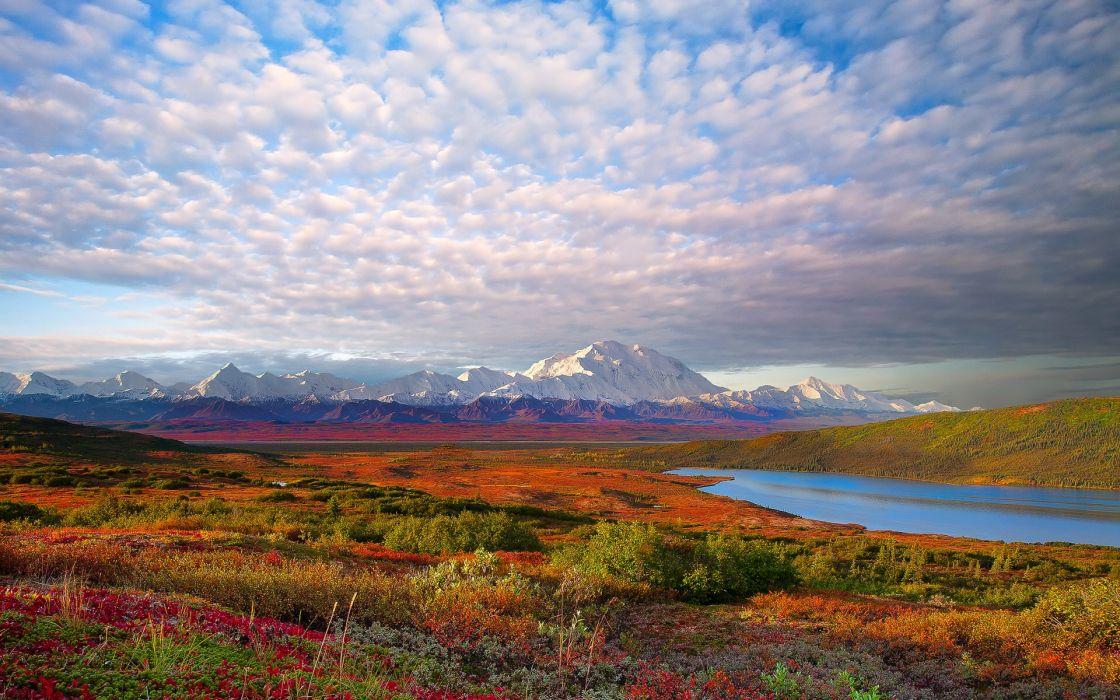 mountains clouds landscapes Denali National Park wallpaper