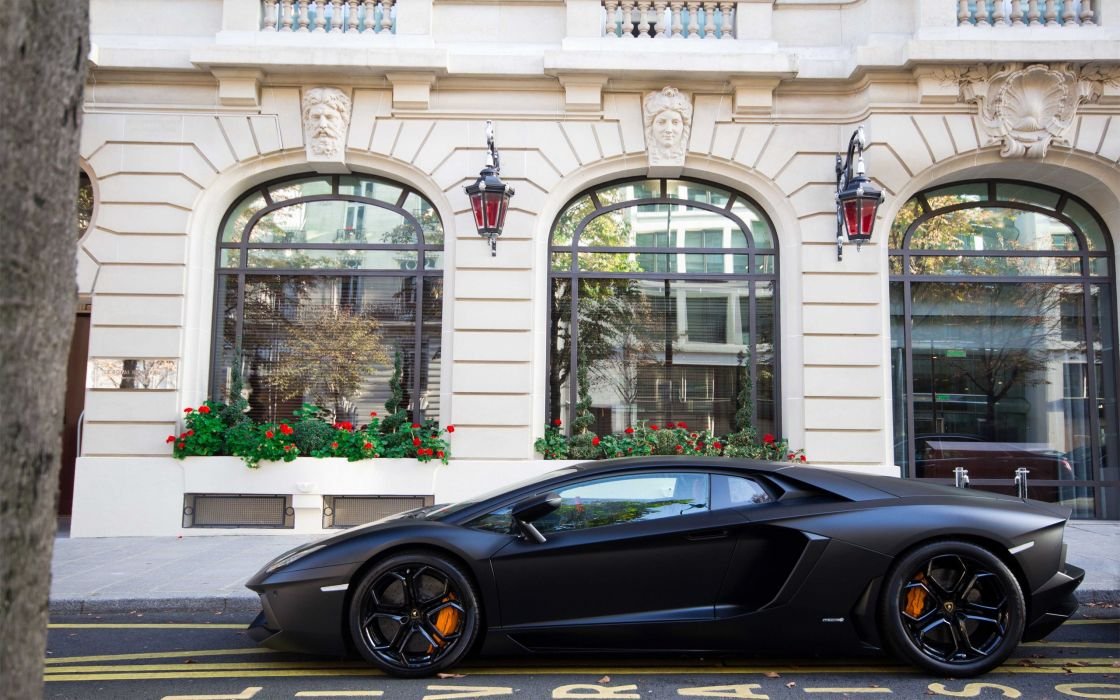 Paris urban avenue black cars Royal Monceau Hoche Lamborghini Aventador LP700-4 wallpaper