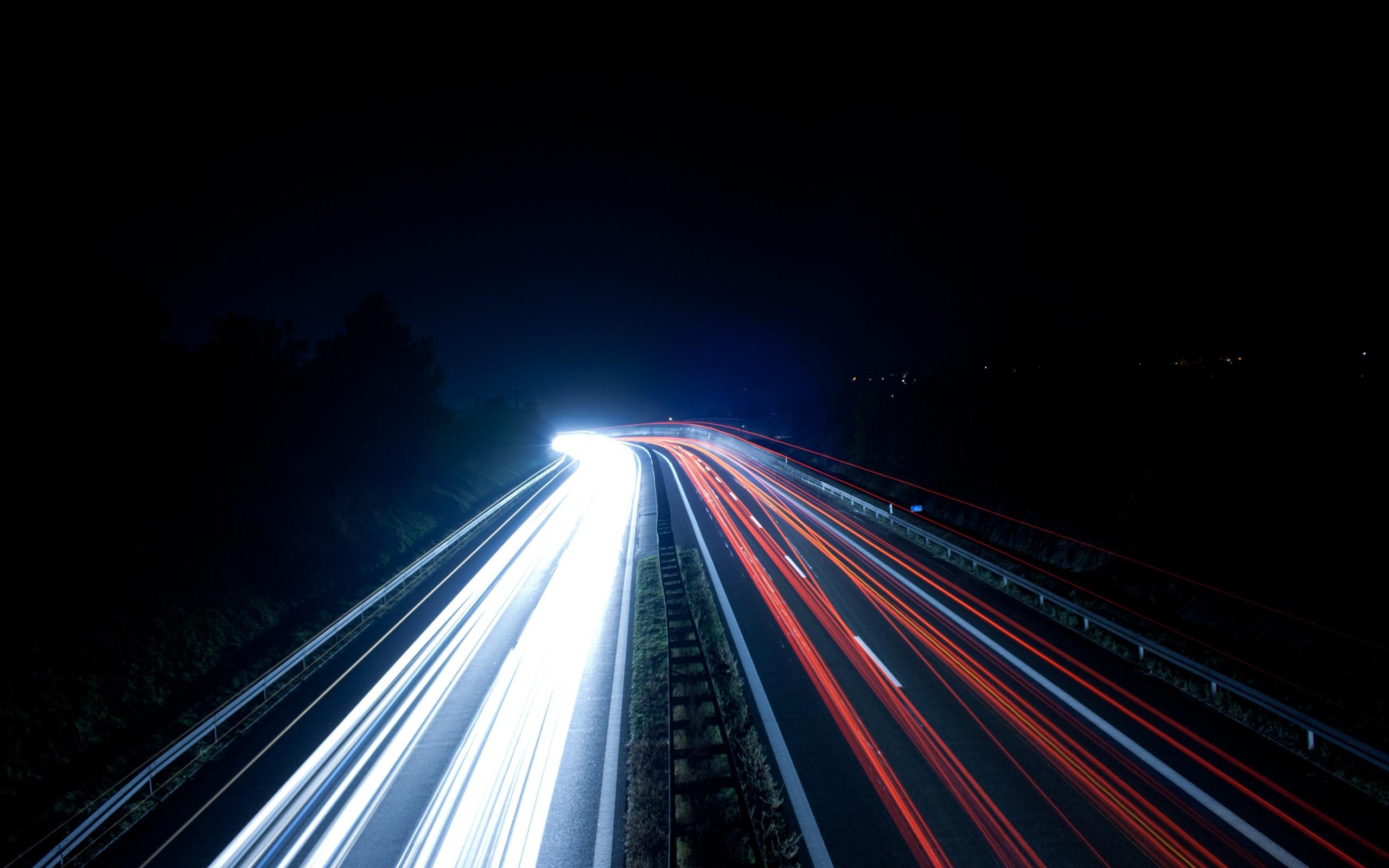 Night Lights Traffic Highways Roads Long Exposure