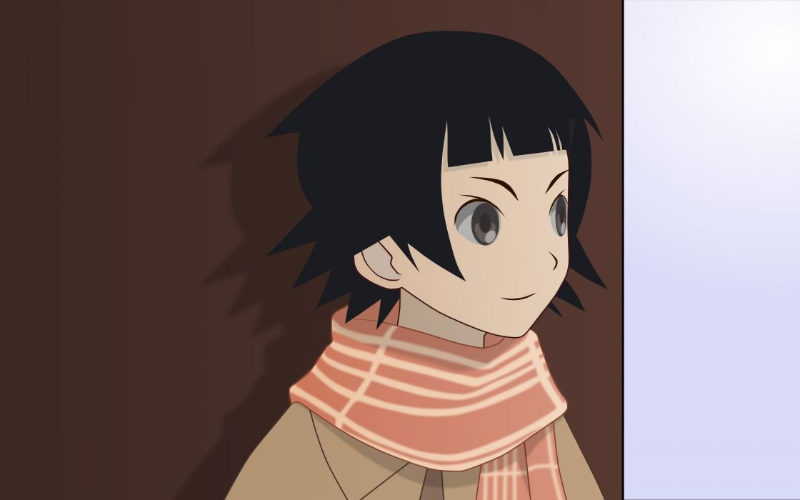 Sayonara Zetsubou Sensei shadows short hair scarfs gray eyes anime girls faces striped clothing bangs black hair Tsunetsuki Matoi wallpaper