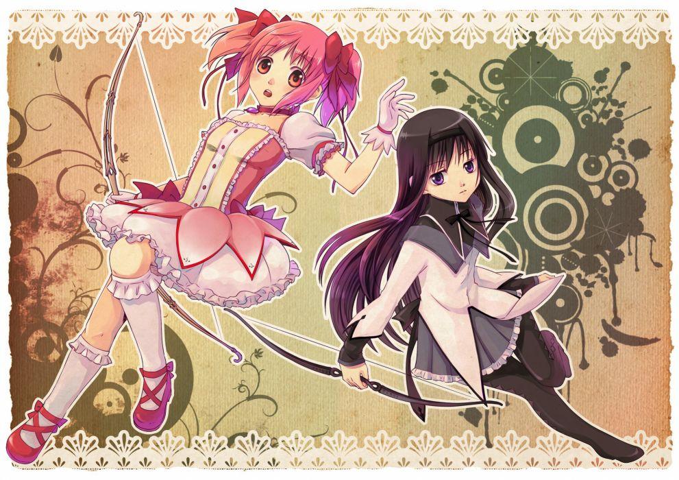 ribbons purple hair pink hair Mahou Shoujo Madoka Magica Kaname Madoka anime Akemi Homura anime girls wallpaper