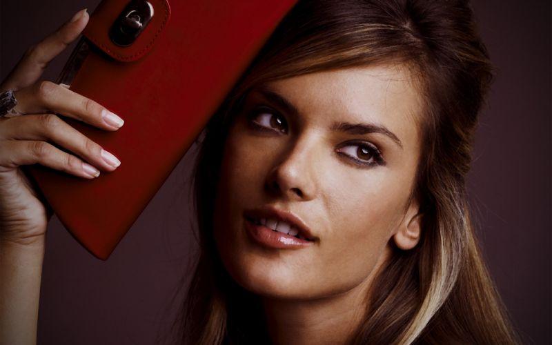 brunettes women models celebrity Alessandra Ambrosio faces wallpaper