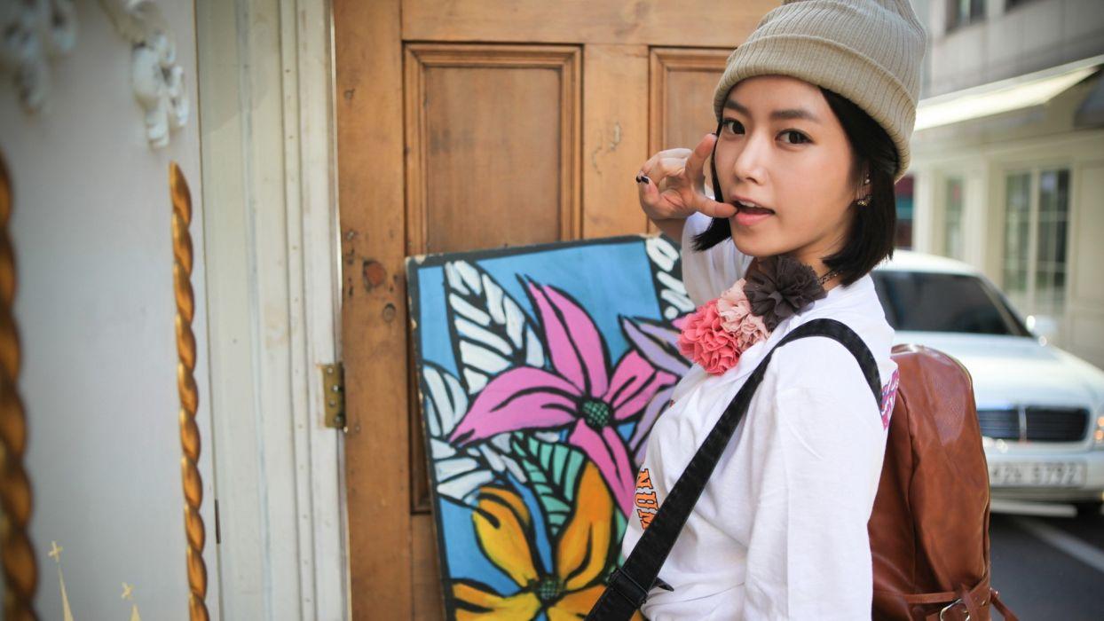 women Asians T-ara Hyomin models wallpaper