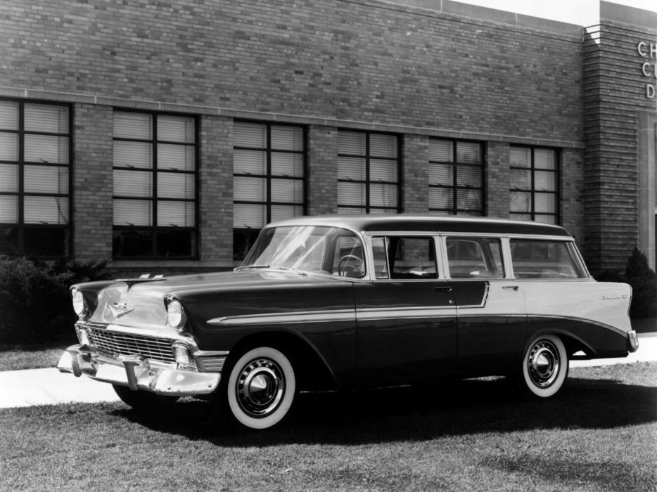 1956 Chevrolet Bel Air Beauville (2419-1062DF) stationwagon retro  g wallpaper