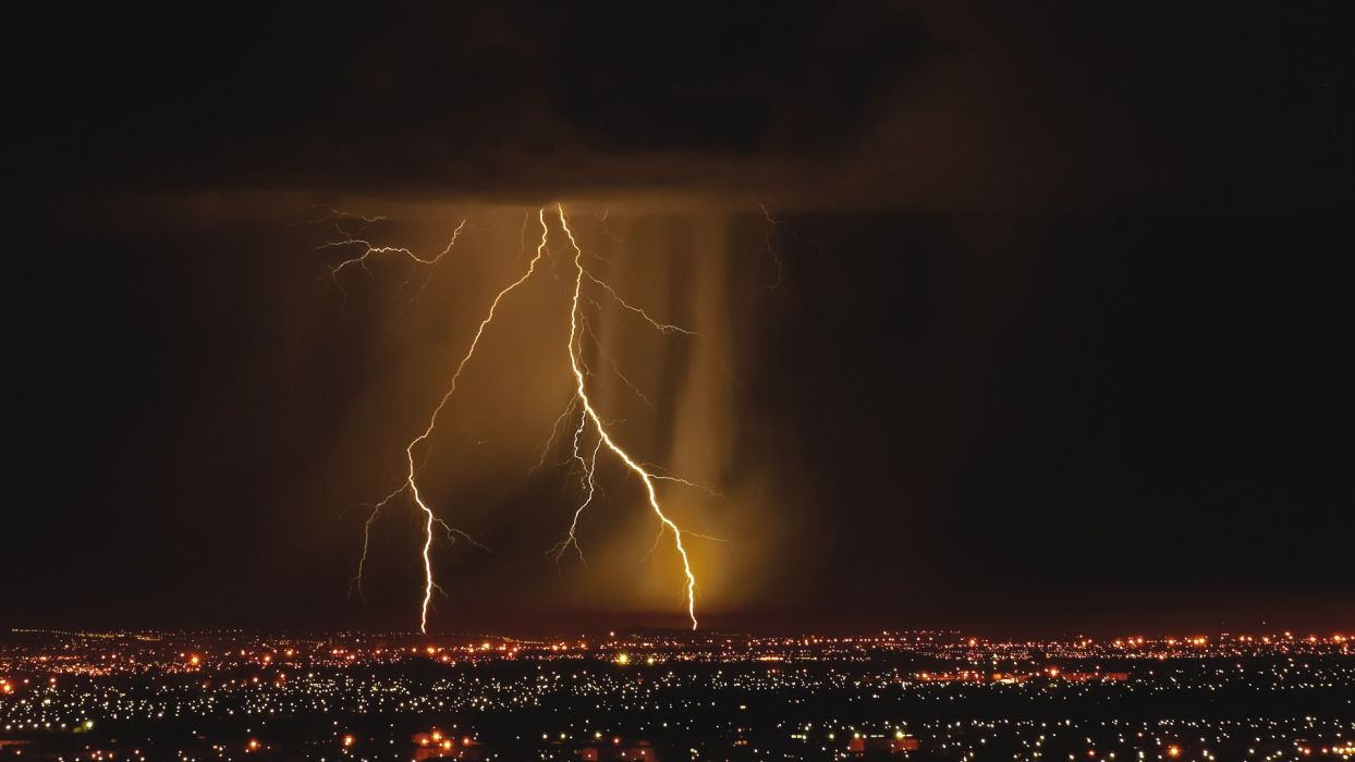 landscapes nature storm darkness city lights lightning cities red sky wallpaper