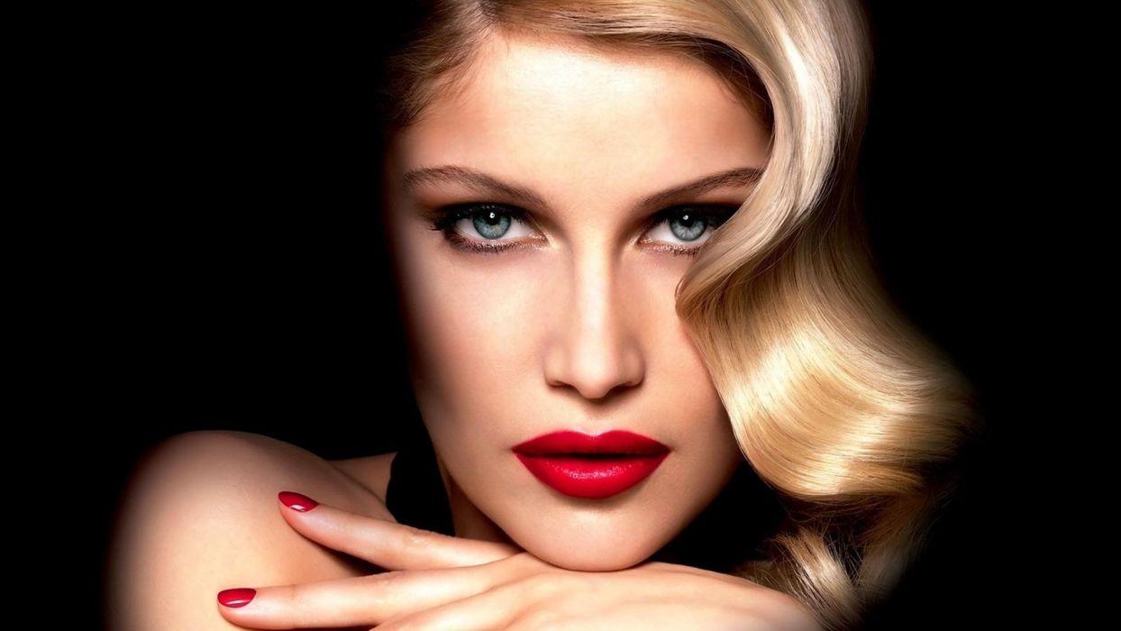 blondes women models Laetitia Casta faces red lips wallpaper