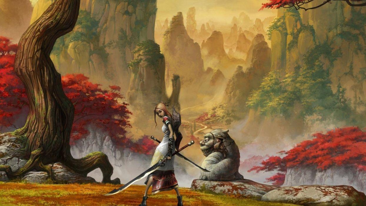 women fantasy video games samurai artwork swords wallpaper