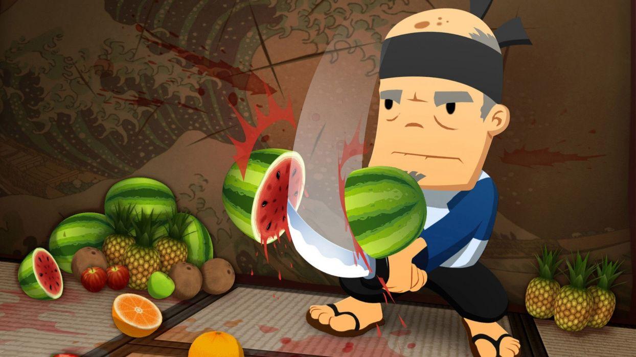 video games ninjas fruits fruit ninja wallpaper