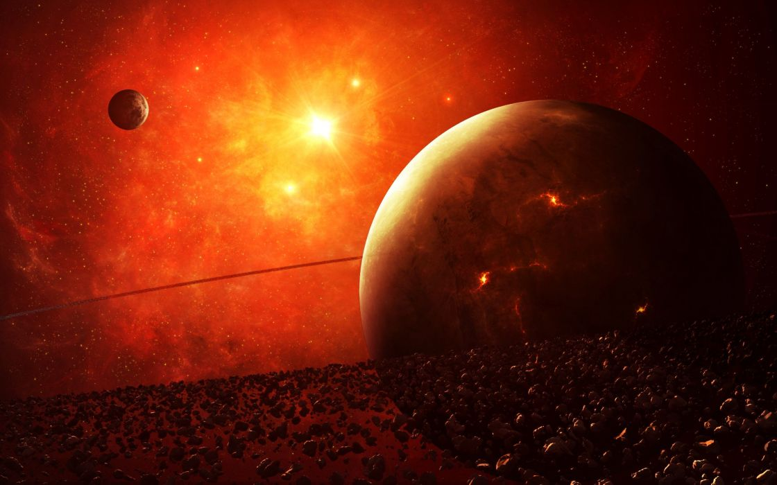 outer space stars planets science fiction planetary rings wallpaper