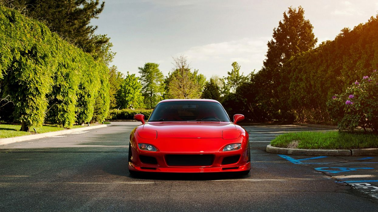 trees cars Japanese Mazda RX-7 red cars parking lot front view wallpaper