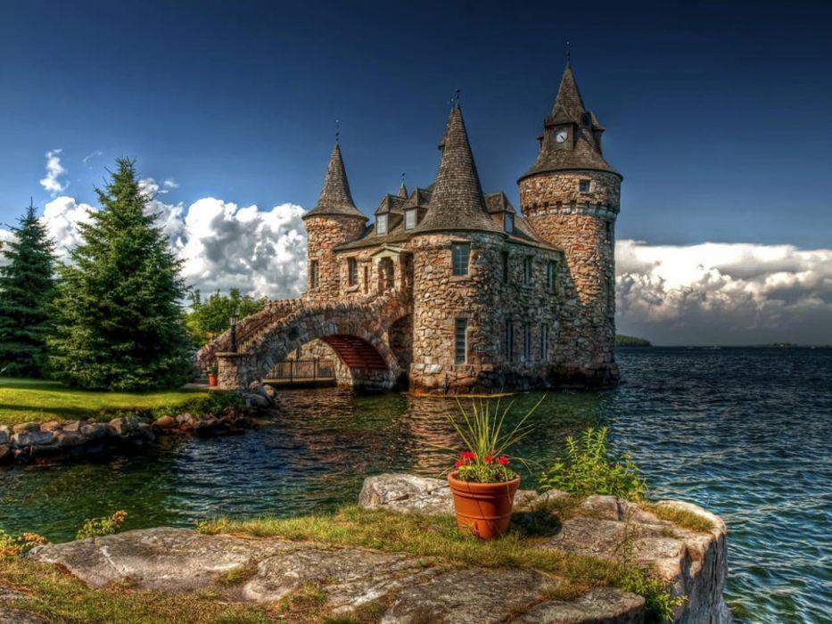 ocean castles islands wallpaper