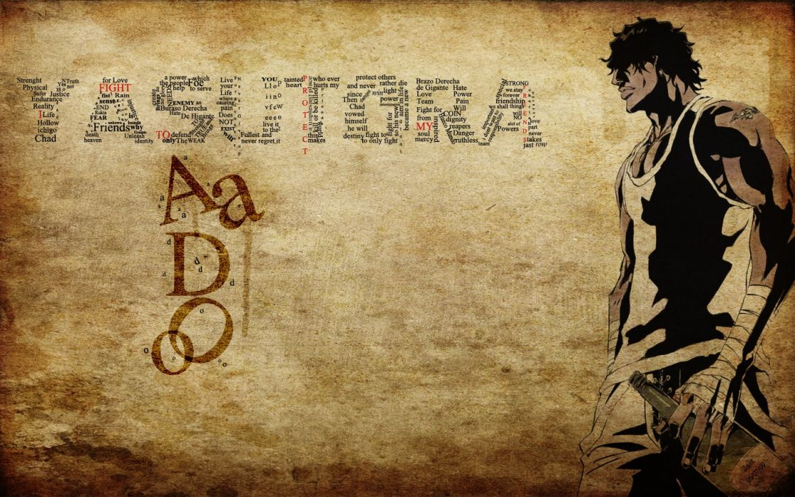 grunge Bleach typography Yasutora Sado wallpaper