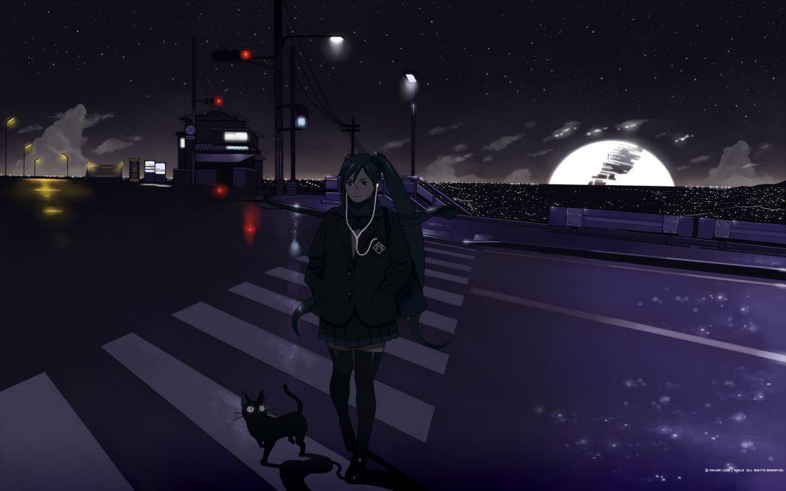 Vocaloid night Hatsune Miku cats Moon wallpaper