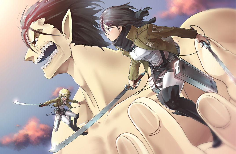 titans anime anime boys anime girls Shingeki no Kyojin Mikasa Ackerman Eren Jaeger Armin Arlert wallpaper