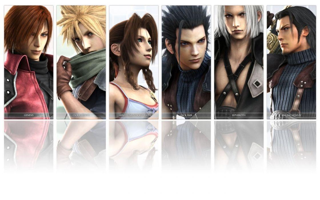 Final Fantasy VII Sephiroth Crisis Core Cloud Strife Zack Fair Aerith Gainsborough Genesis Rhapsodos Angeal Hewely wallpaper