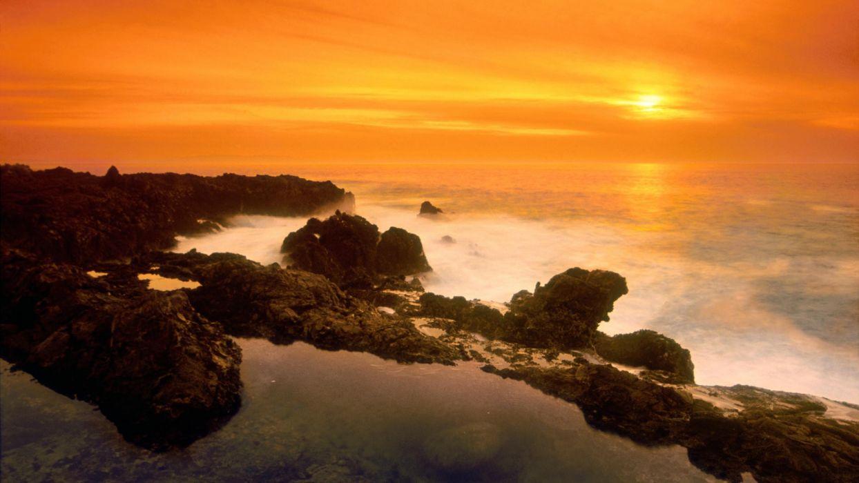sunset nature orange California wallpaper