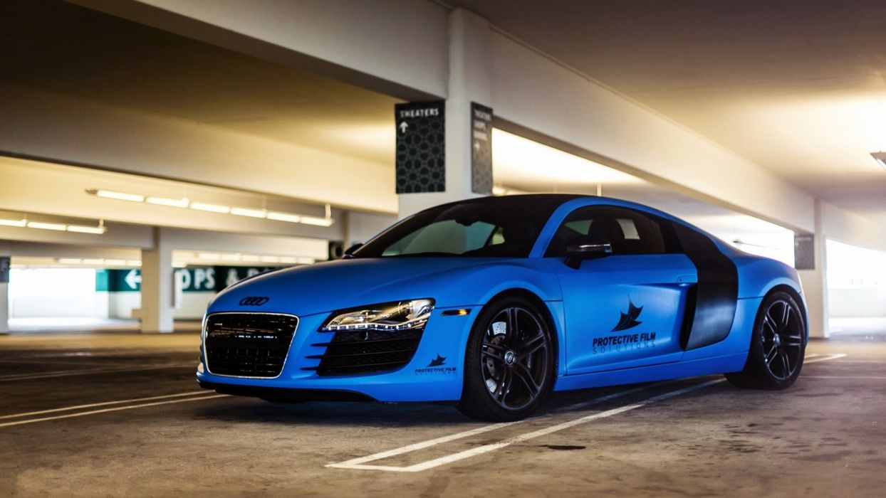 blue cars Audi vehicles Audi R8 automobile wallpaper