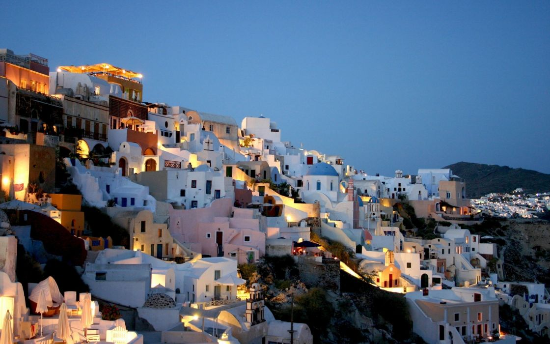light landscapes cityscapes streets houses hills lamps Greece evening blue skies wallpaper