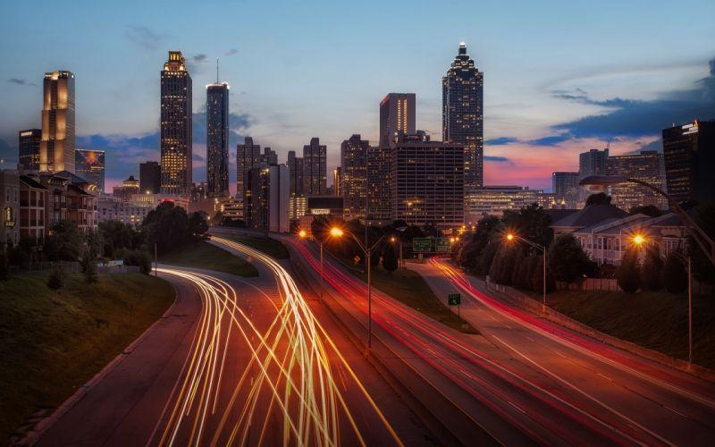 skyscrapers Atlanta long exposure dusk cities wallpaper