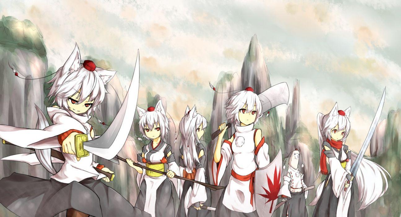 video games Touhou animal ears white hair Inubashiri Momiji Japanese clothes anime girls tengu detached sleeves wallpaper