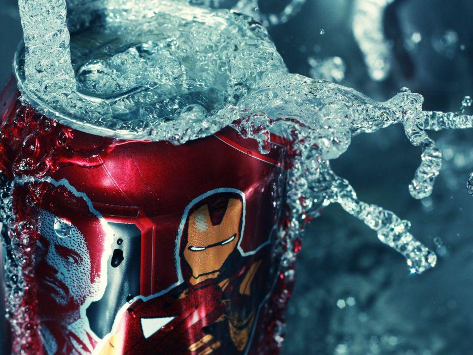 water Iron Man macro soda cans splashes wallpaper