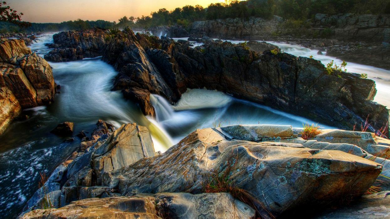 nature rocks USA long exposure rivers virginia wallpaper