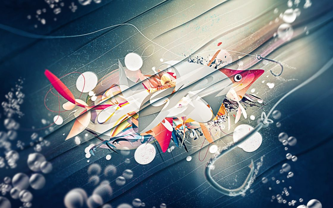 abstract fish fishing wallpaper