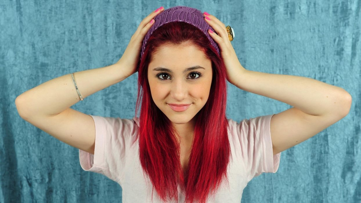 brunettes women actress redheads models singers Ariana Grande hats wallpaper