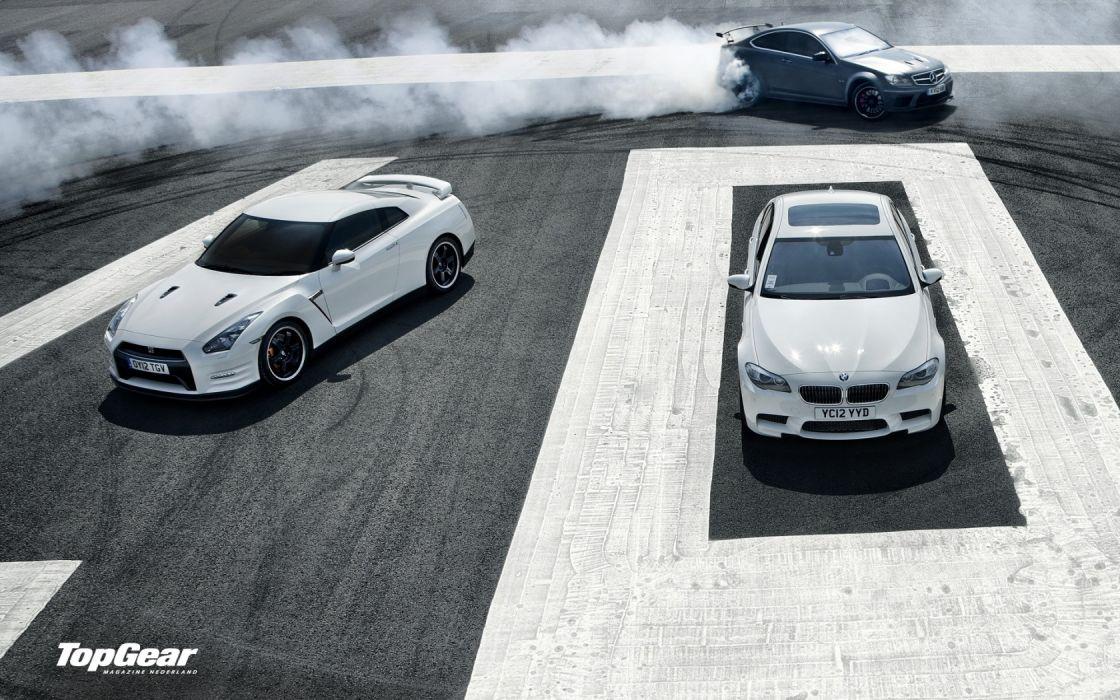 cars Top Gear Nissan BMW M5 Mercedes C 63 AMG Benz C63 AMG Black wallpaper