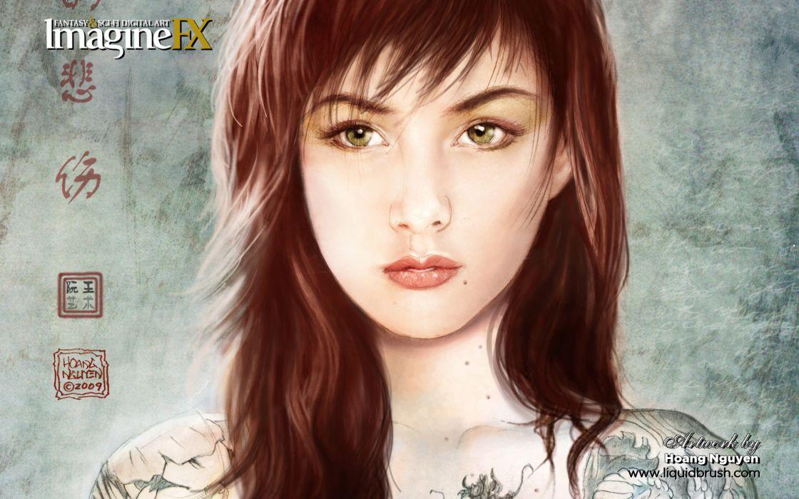 tattoos women green eyes portraits imagine fx wallpaper