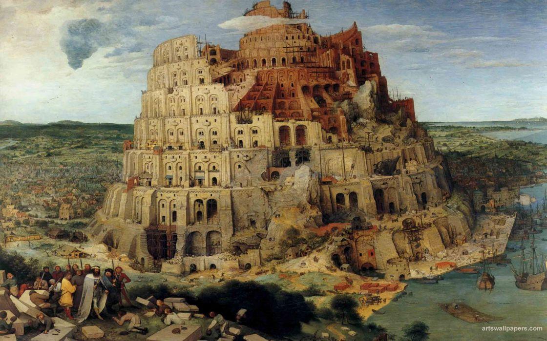 paintings Tower of Babel backgrounds Brueghel classic art Pieter Bruegel wallpaper