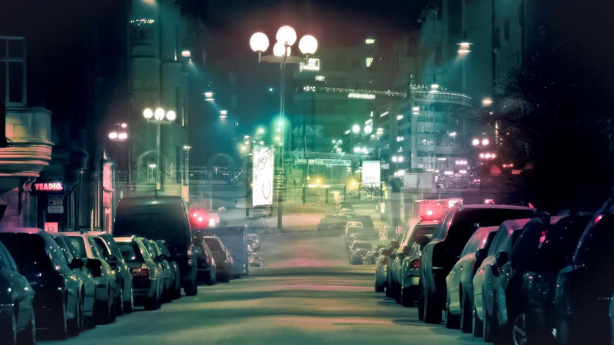 cars DeviantART city lights artwork photo manipulation night shot wallpaper