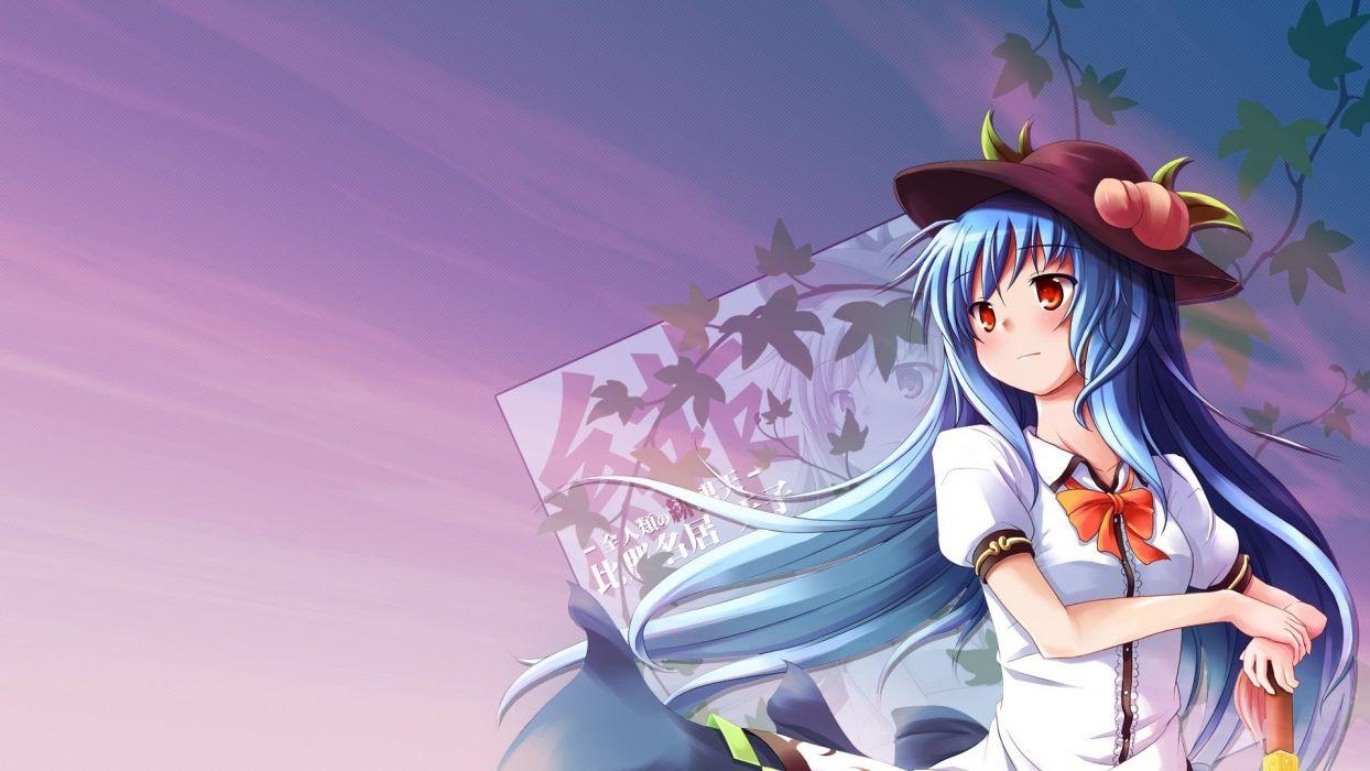 video games Touhou blue hair red eyes artwork anime Hinanawi Tenshi hats Sword of Hisou skies wallpaper