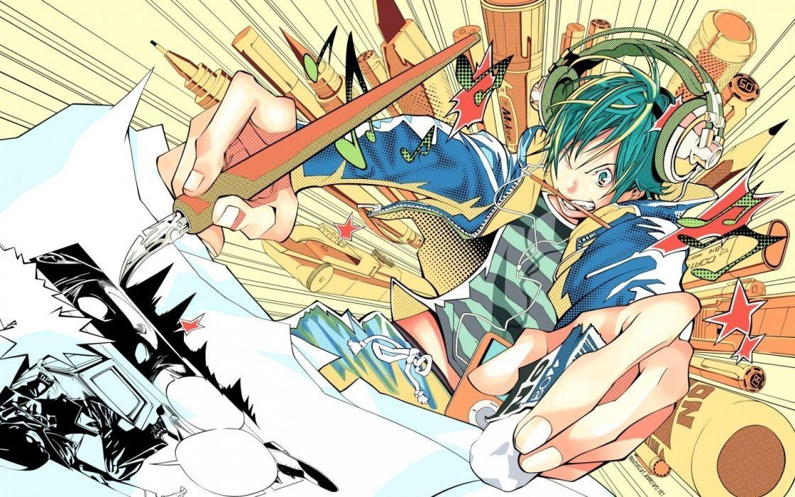 headphones blue eyes blue hair short hair Bakuman drawings anime boys Mashiro Moritaka wallpaper