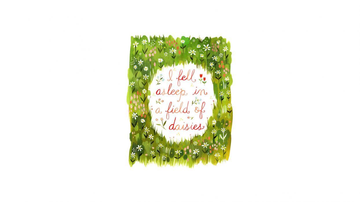 minimalistic typography daisies wallpaper