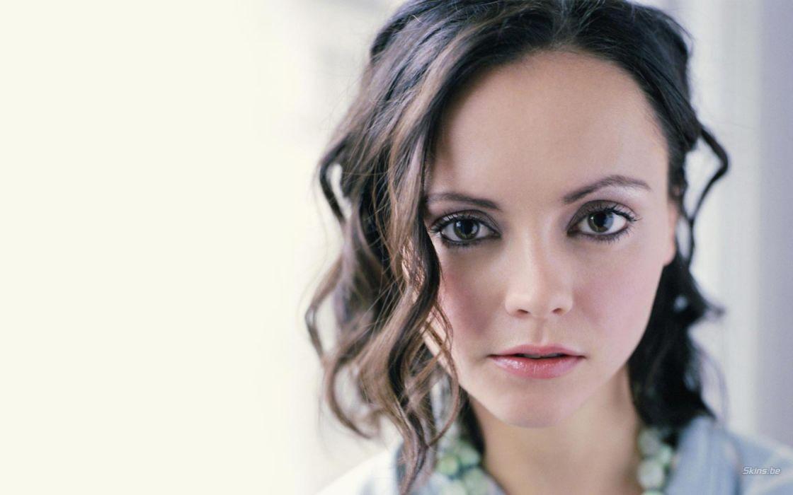 brunettes women close-up actress Christina Ricci pale wallpaper