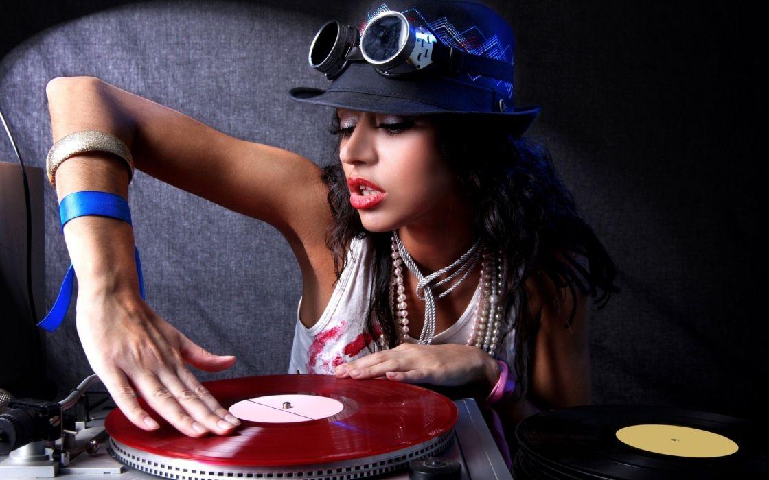 brunettes women turntables DJ  hats wallpaper