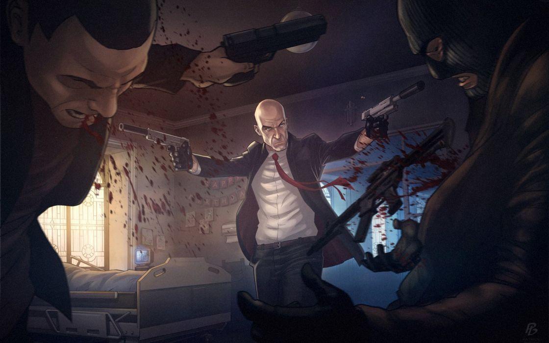 video games Hitman artwork shooting Agent 47 fan art Game Art wallpaper