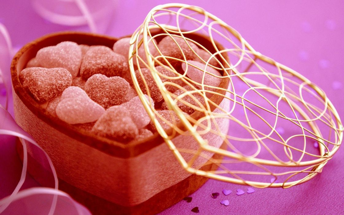 love chocolate sweets (candies) Valentines Day hearts wallpaper