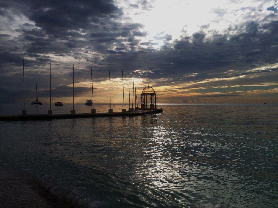 sunset ocean clouds landscapes nature sea wallpaper