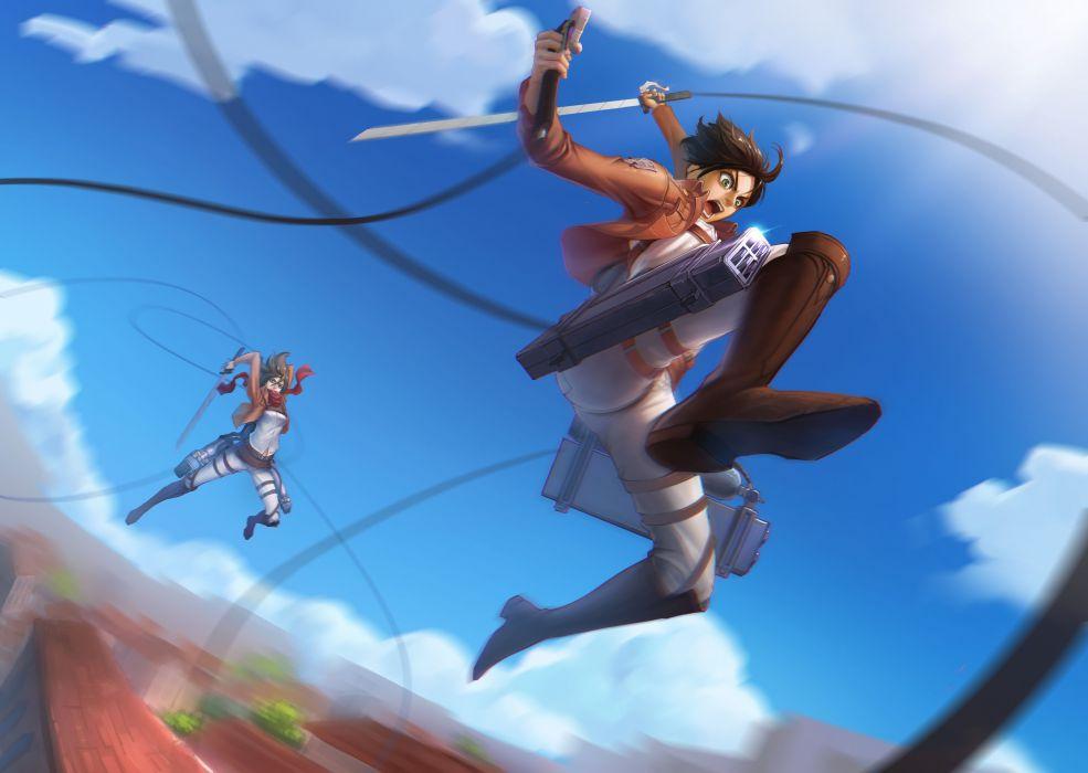 clouds houses anime anime boys anime girls swords skies Shingeki no Kyojin Mikasa Ackerman Eren Jaeger wallpaper