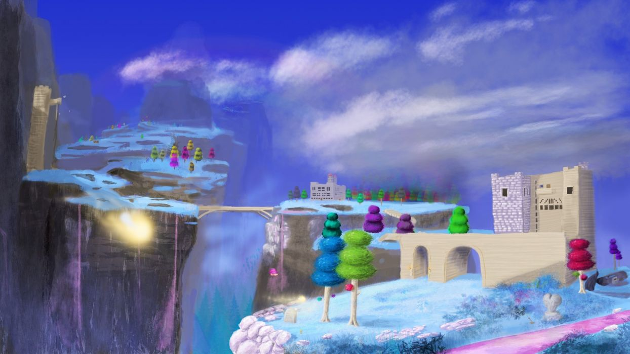 video games mountains clouds trees pink bridges buildings artwork Terraria skies hallow wallpaper