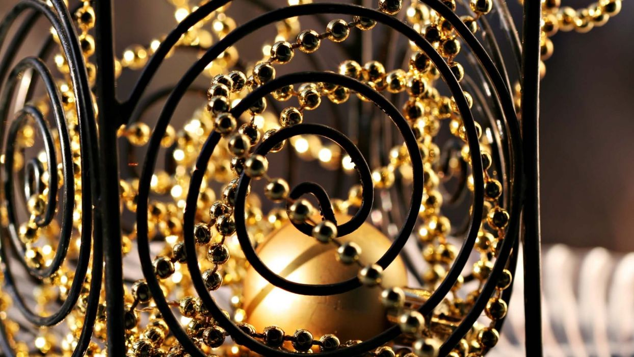 gold beads objects spirals wallpaper