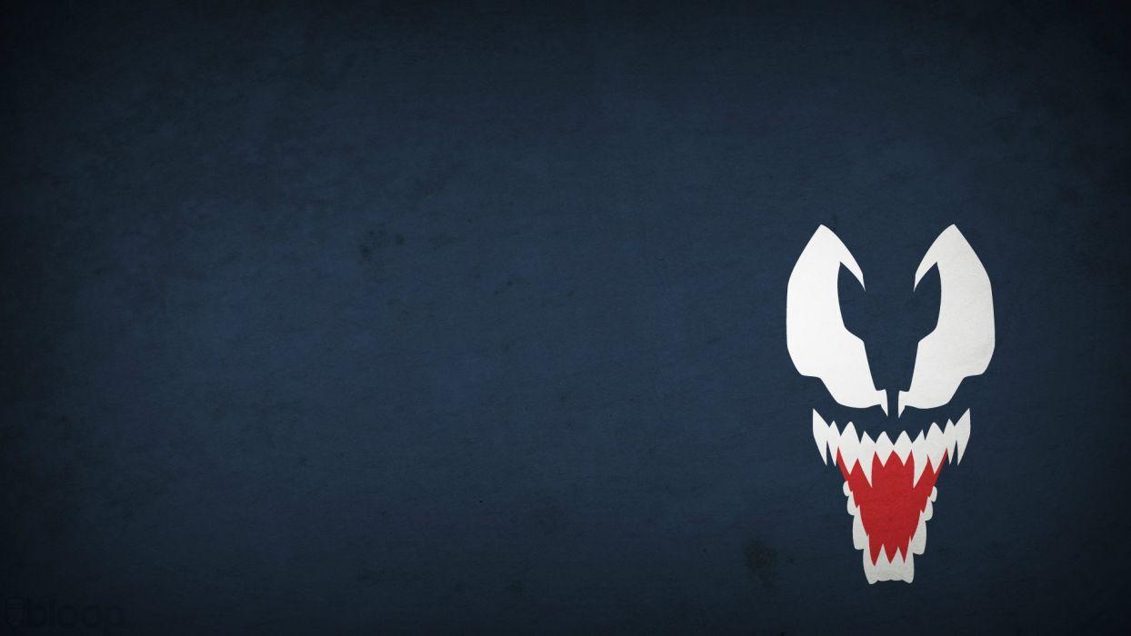 minimalistic Venom Marvel Comics blue background villians blo0p wallpaper