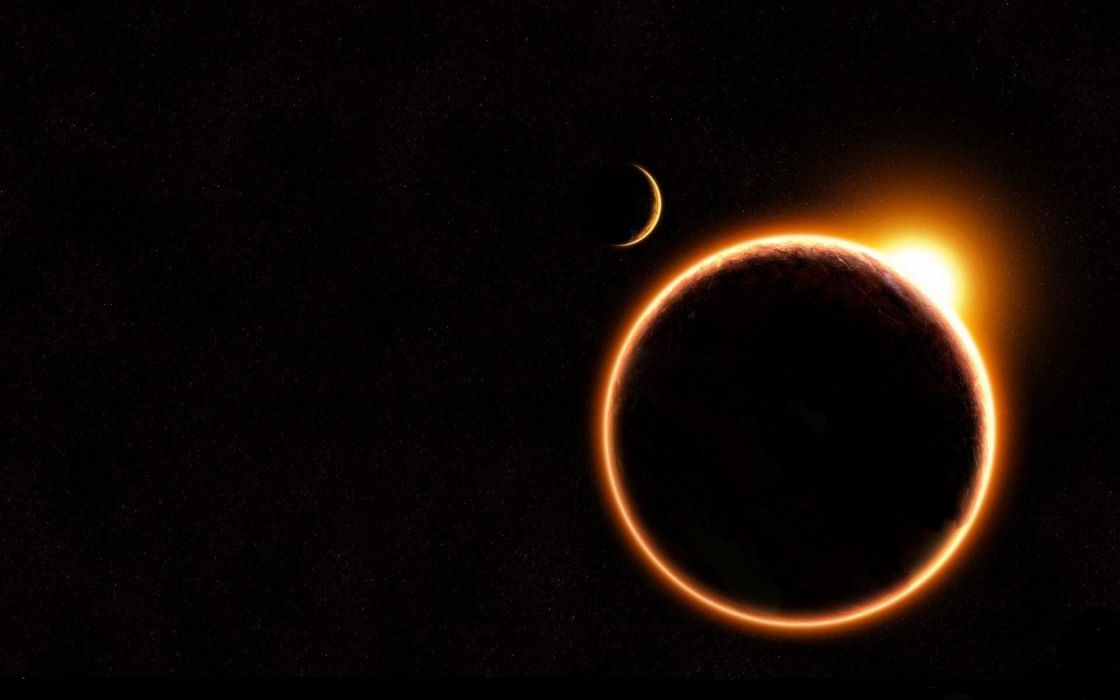 outer space planets eclipse wallpaper