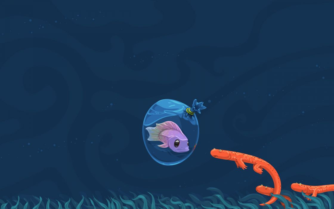 water ocean fish vectors funny digital art underwater David Lanham sea wallpaper