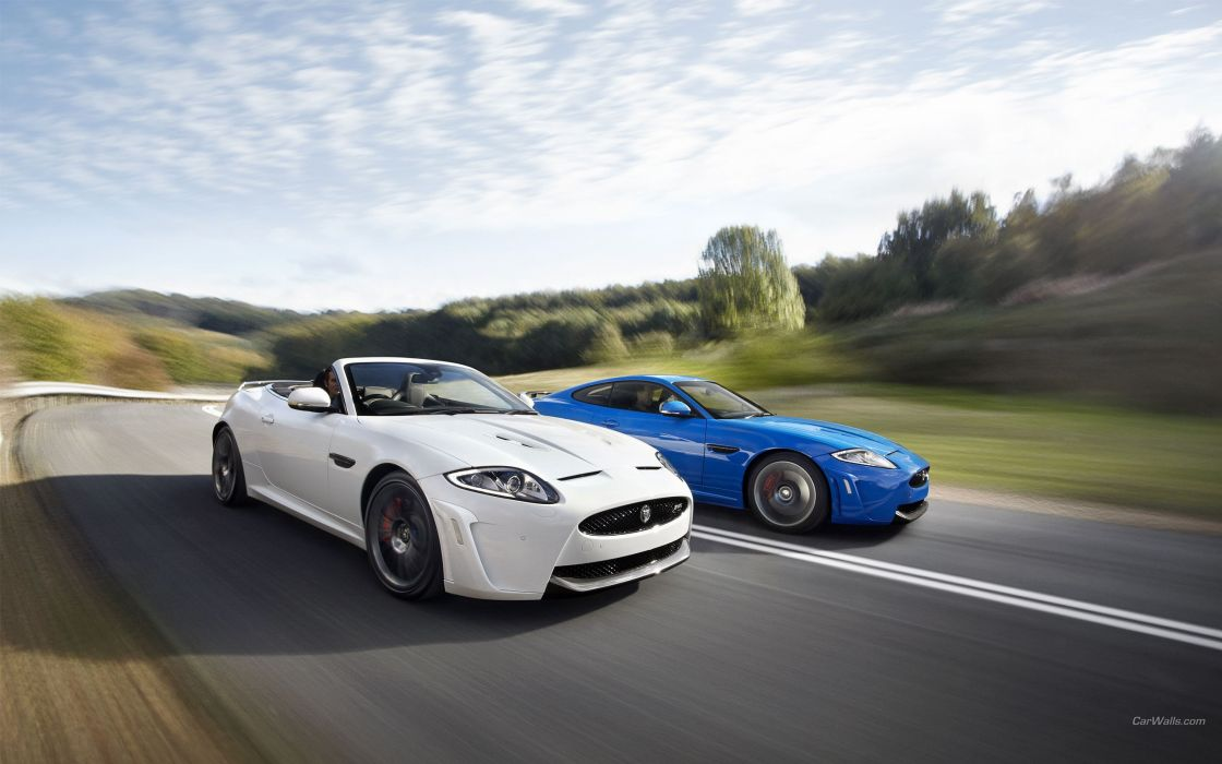 white cars convertible Jaguar XKR wallpaper
