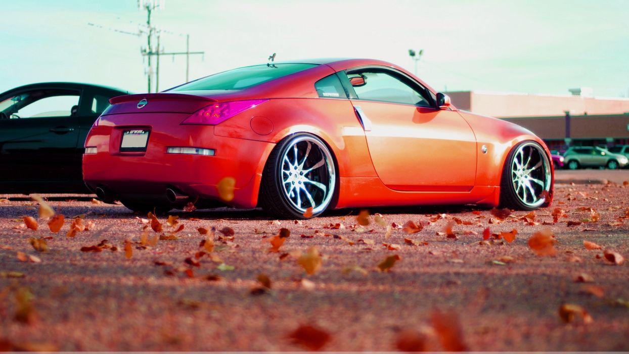 cars leaves tuning Nissan 350Z stance fallen leaves wallpaper