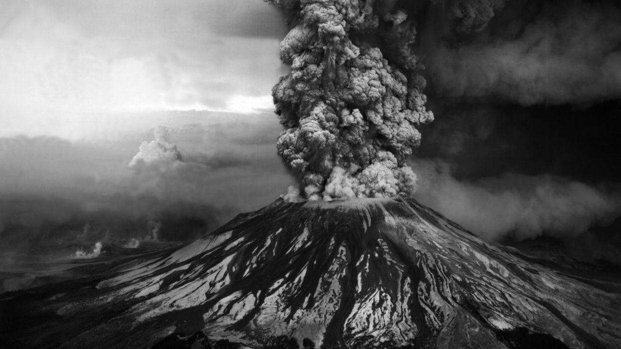 mountains volcanoes smoke monochrome eruption wallpaper