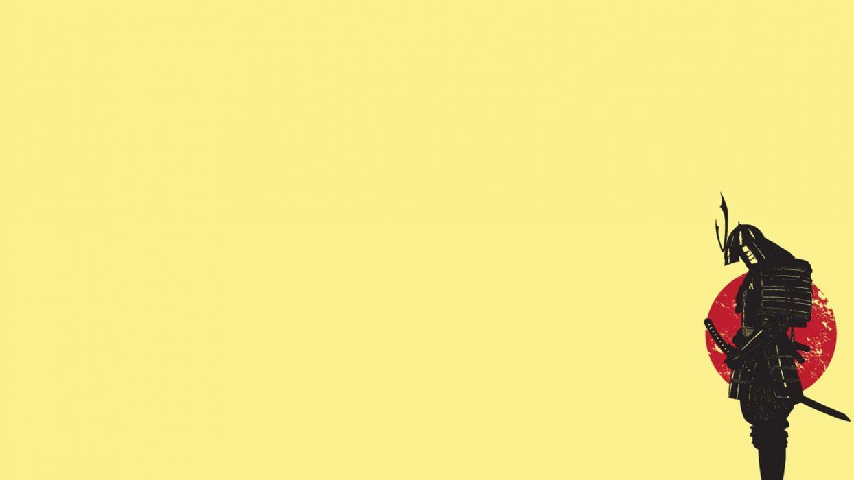 sunset Japan minimalistic yellow samurai funny wallpaper